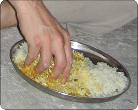 Eating rice with your hands